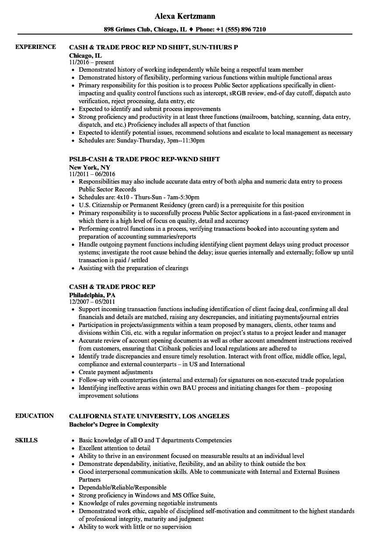 cash  u0026 trade proc rep resume samples