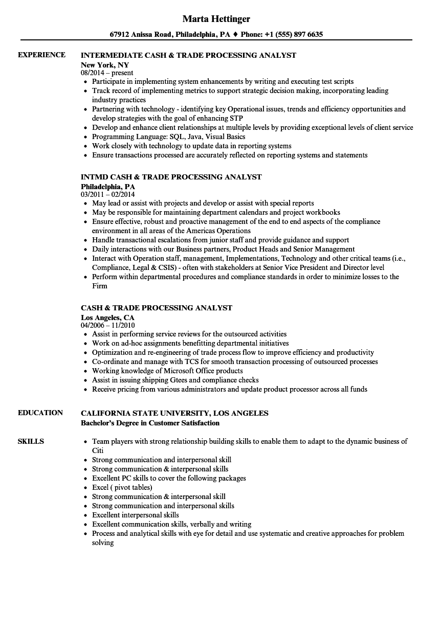 cash  u0026 trade processing analyst resume samples