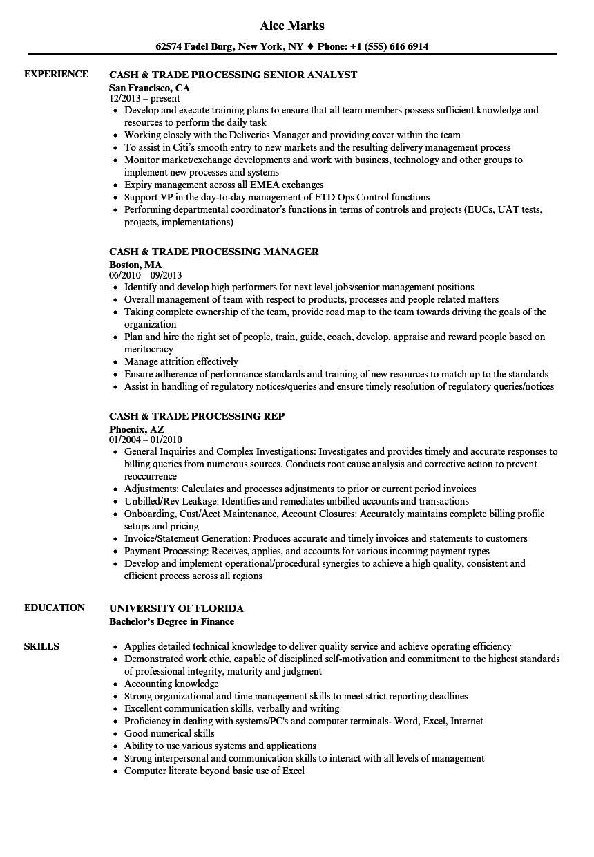 cash  u0026 trade processing resume samples