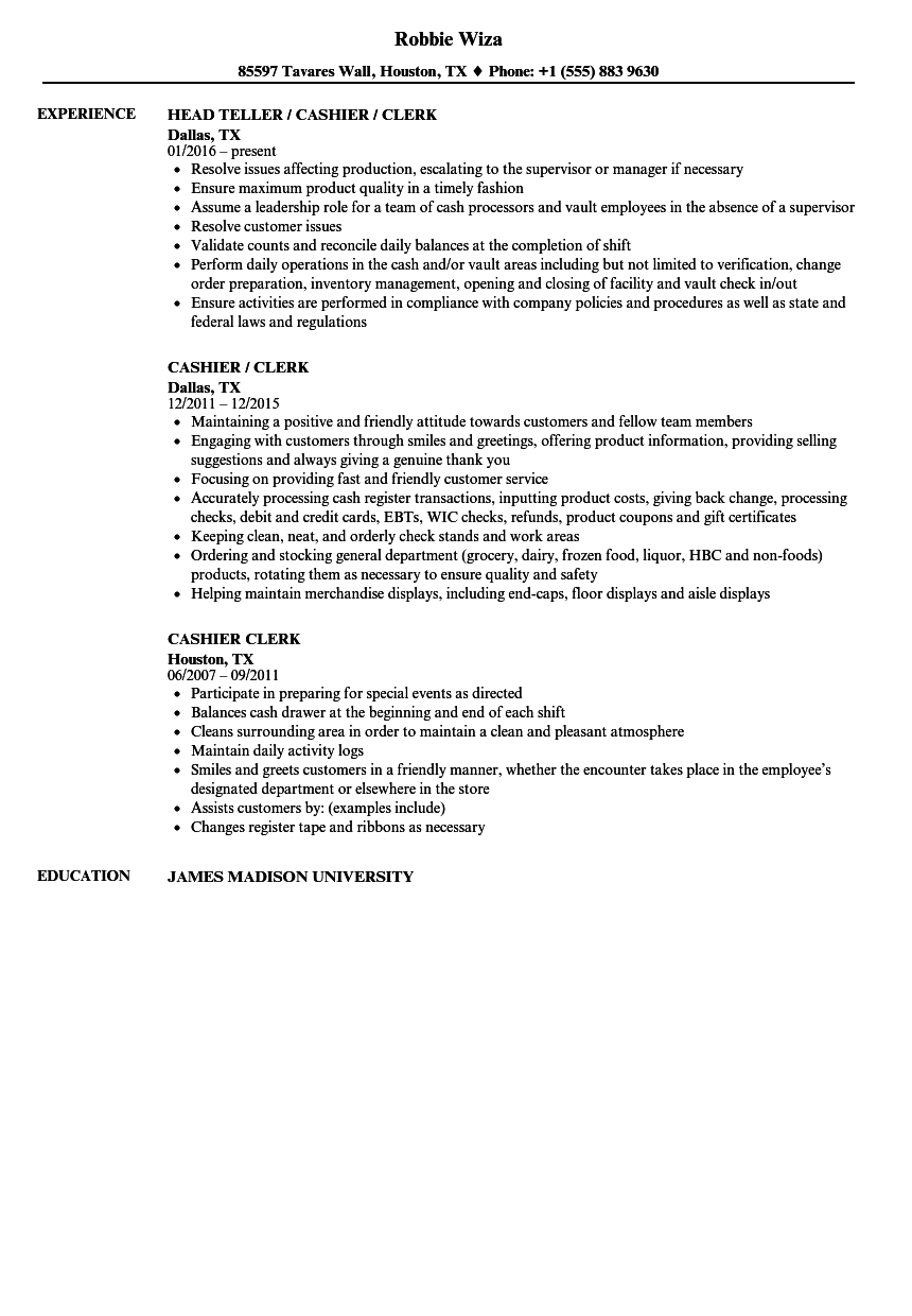 Cashier Clerk Resume Samples | Velvet Jobs