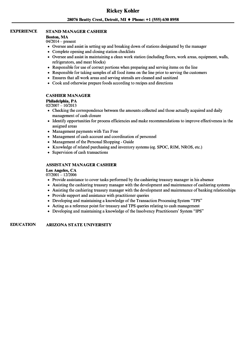 Download Cashier Manager Resume Sample As Image File