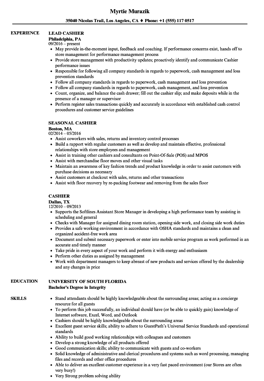 Velvet Jobs  Sample Cashier Resume