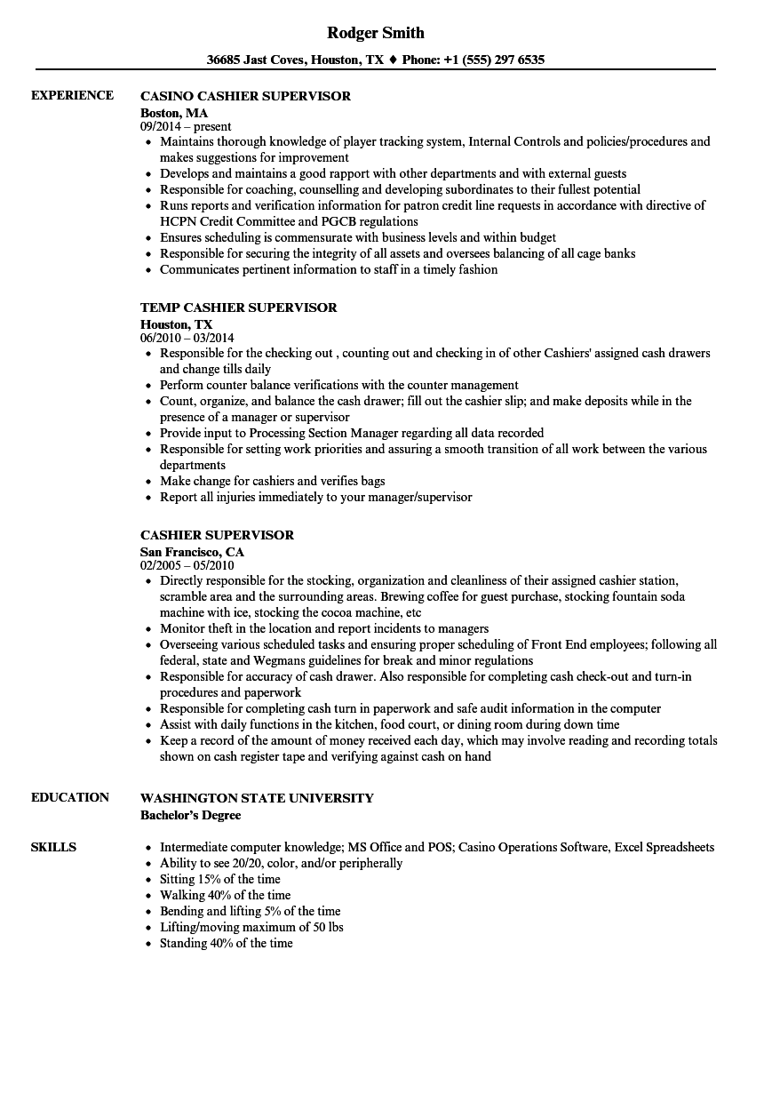Cashier Supervisor Resume Samples | Velvet Jobs