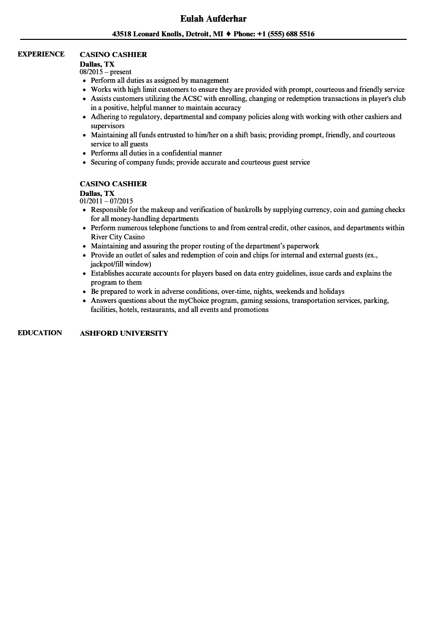 casino cashier resume samples velvet jobs