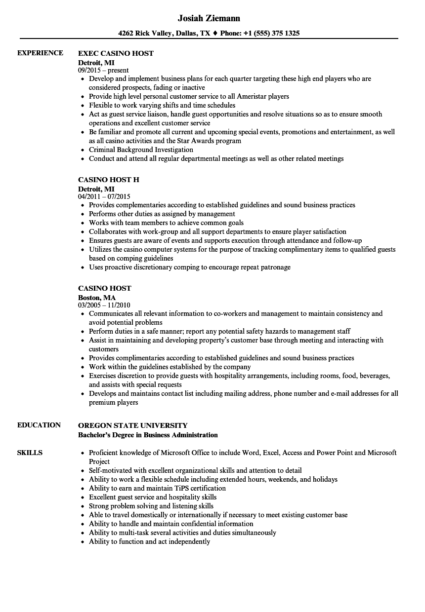 Casino Host Resume Samples | Velvet Jobs