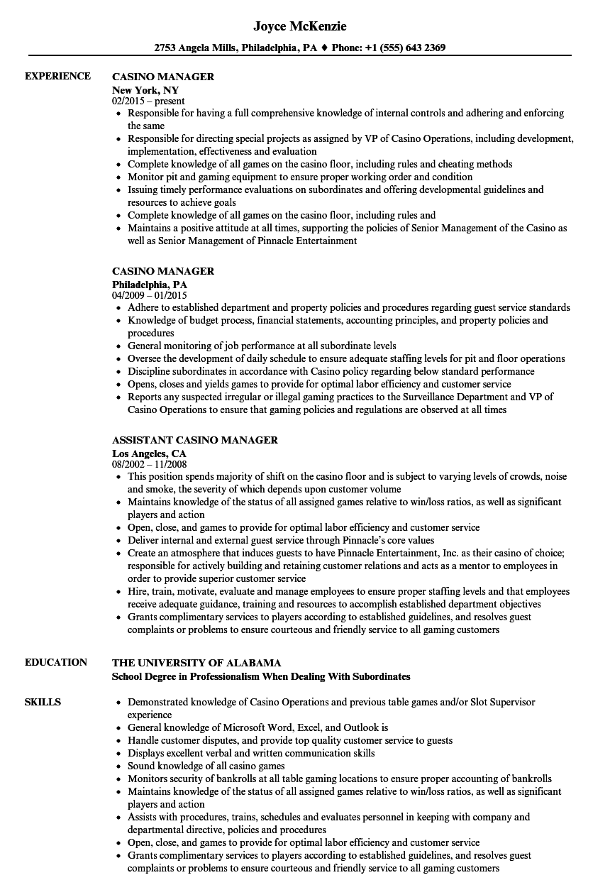 Casino Manager Resume Samples | Velvet Jobs