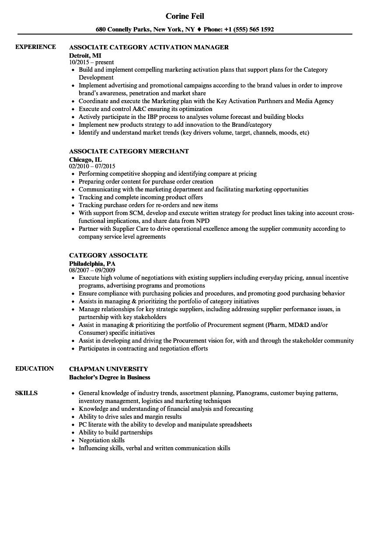 Category Associate Resume Samples | Velvet Jobs