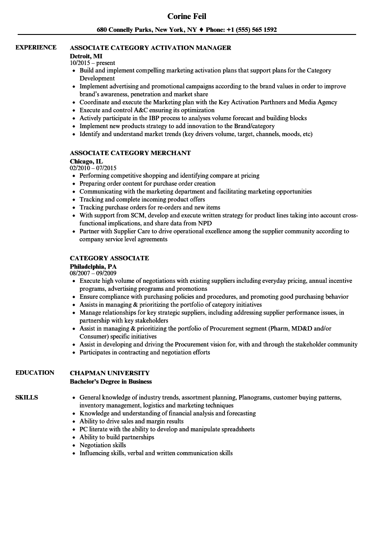 category associate resume samples