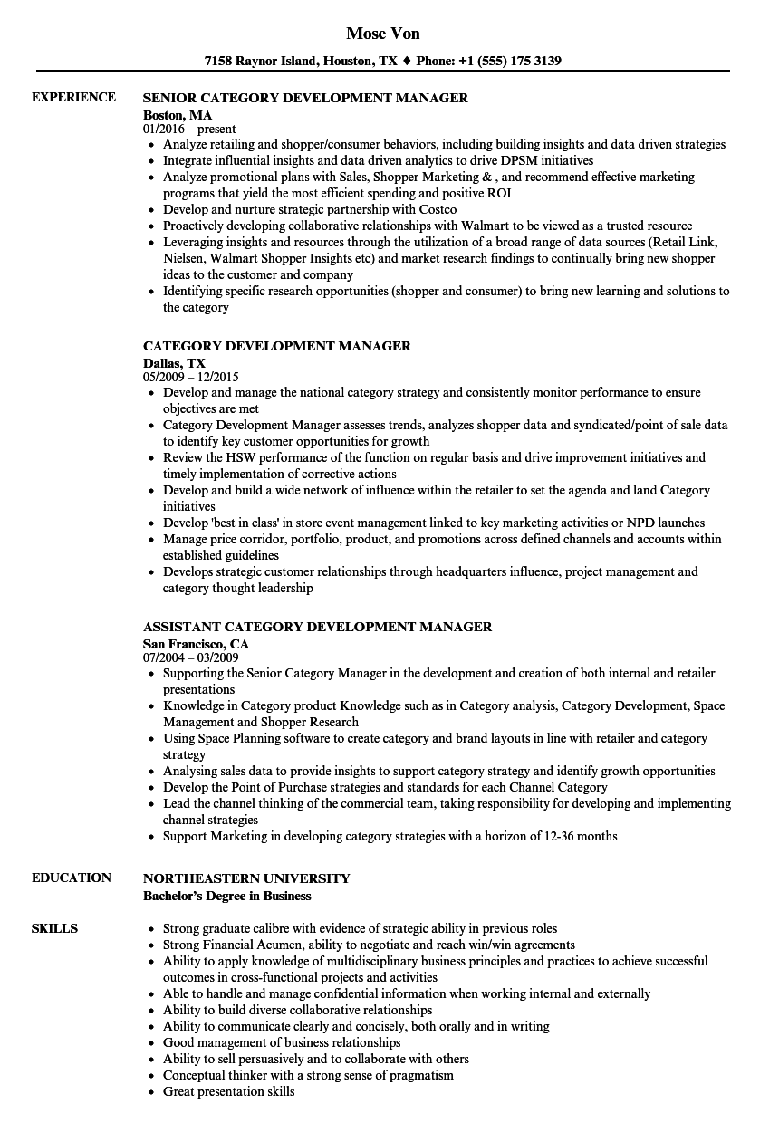 category development manager resume samples