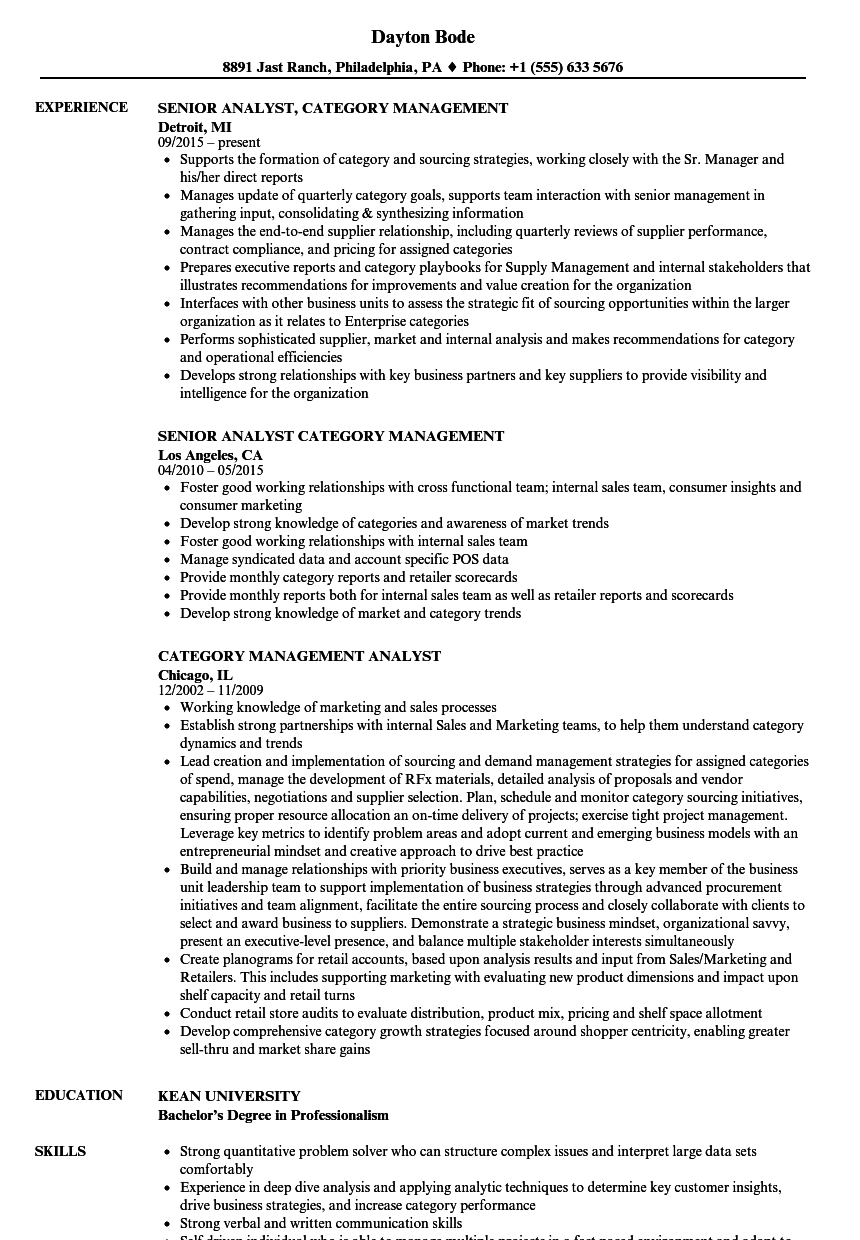 category management analyst resume samples