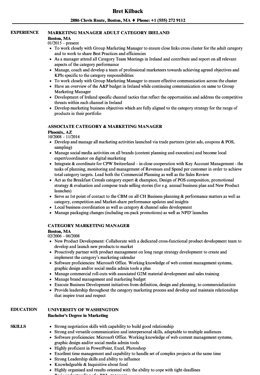Category Marketing Manager Resume Samples | Velvet Jobs