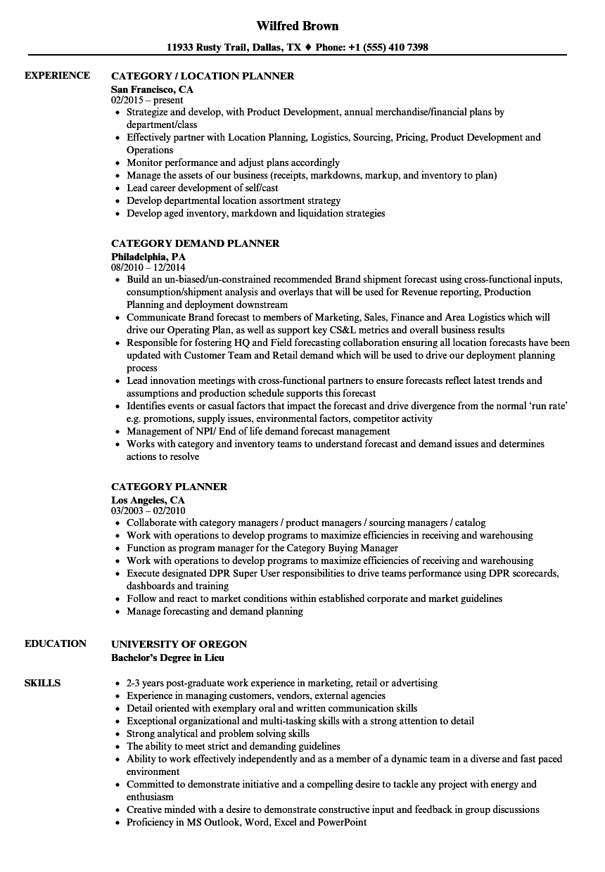 category planner resume samples