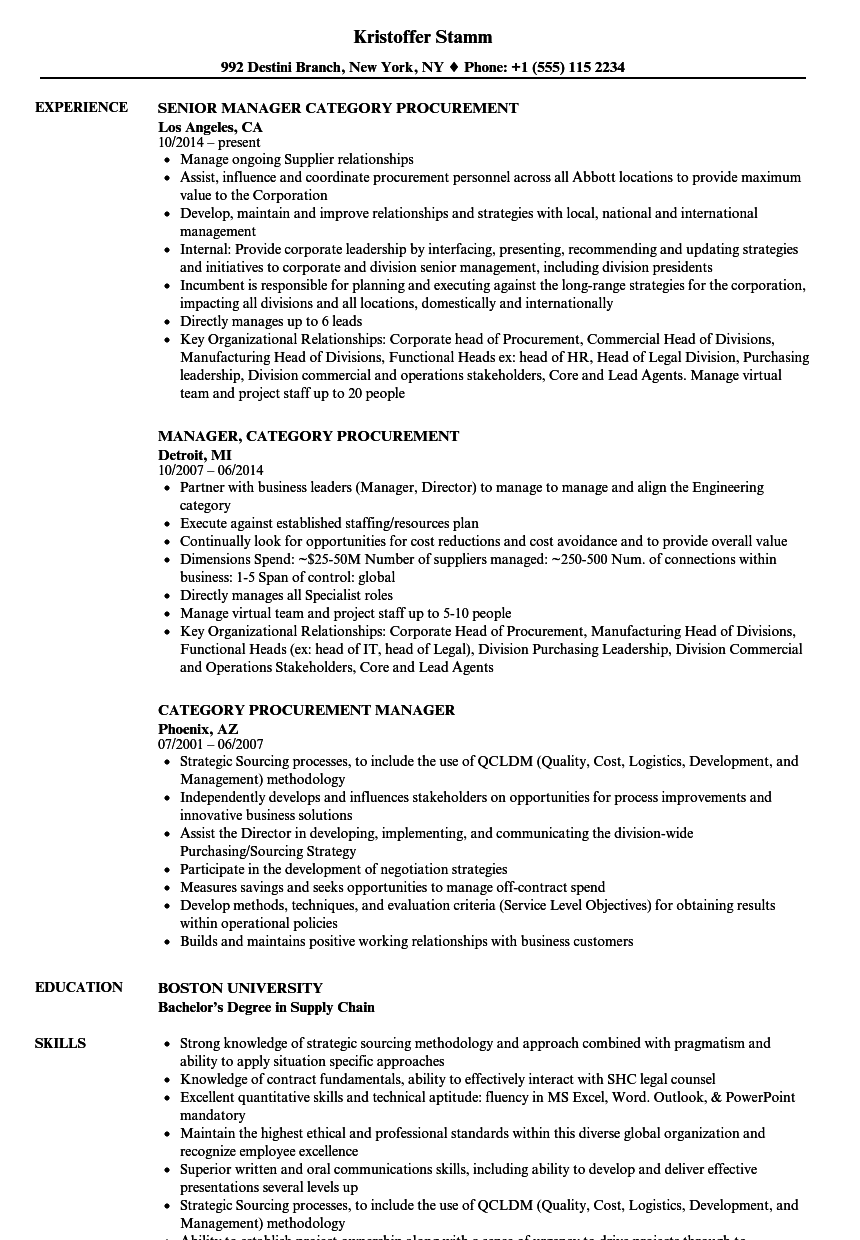 Category Procurement Manager Resume Samples | Velvet Jobs