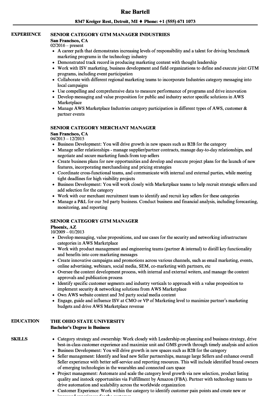 category senior manager resume samples