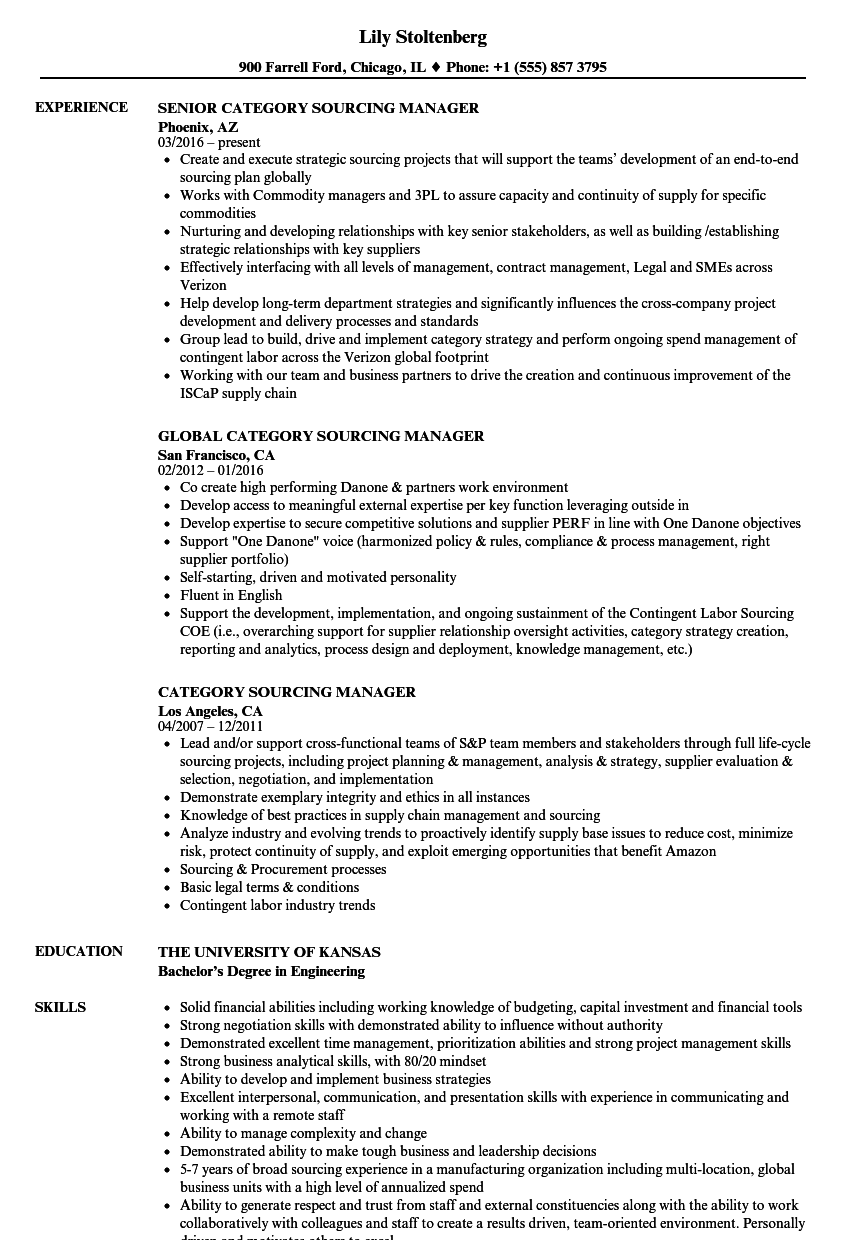 Category Sourcing Manager Resume Samples Velvet Jobs