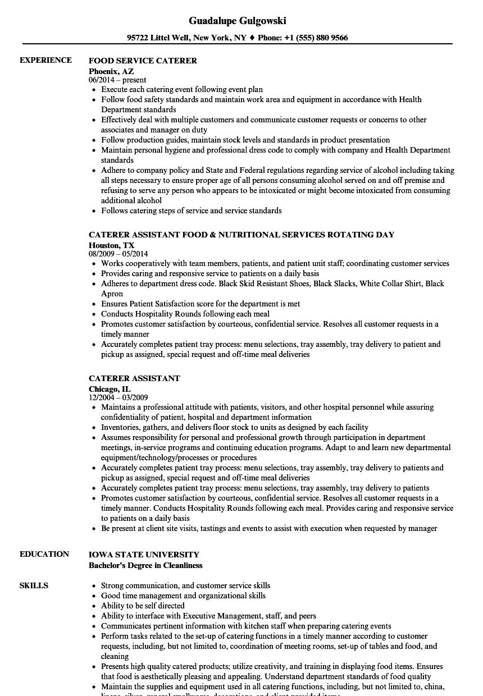 Caterer Resume Samples | Velvet Jobs