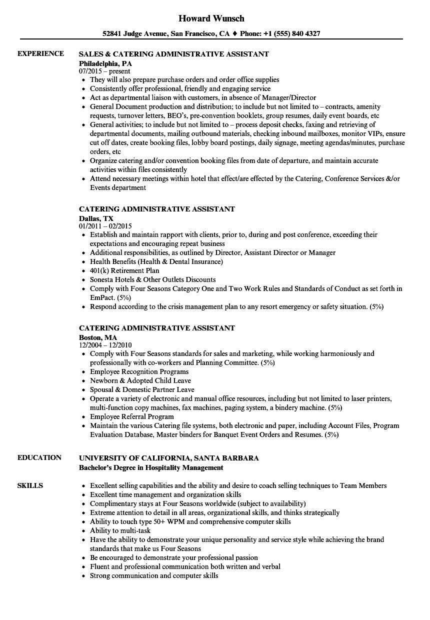 catering administrative assistant resume samples