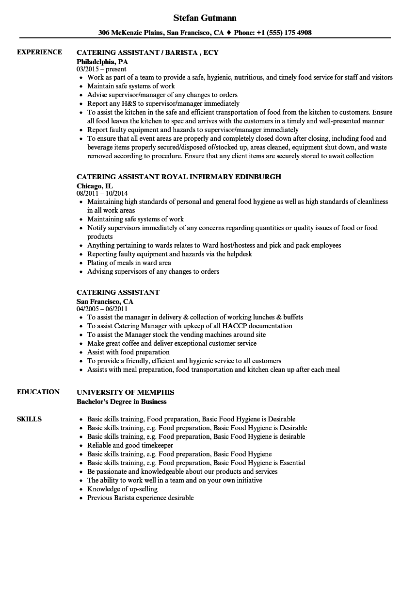 catering assistant resume samples