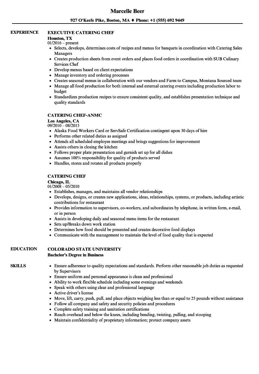 Catering Chef Resume Samples | Velvet Jobs