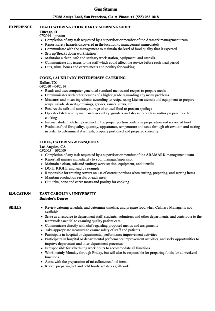 Catering Cook Resume Samples | Velvet Jobs