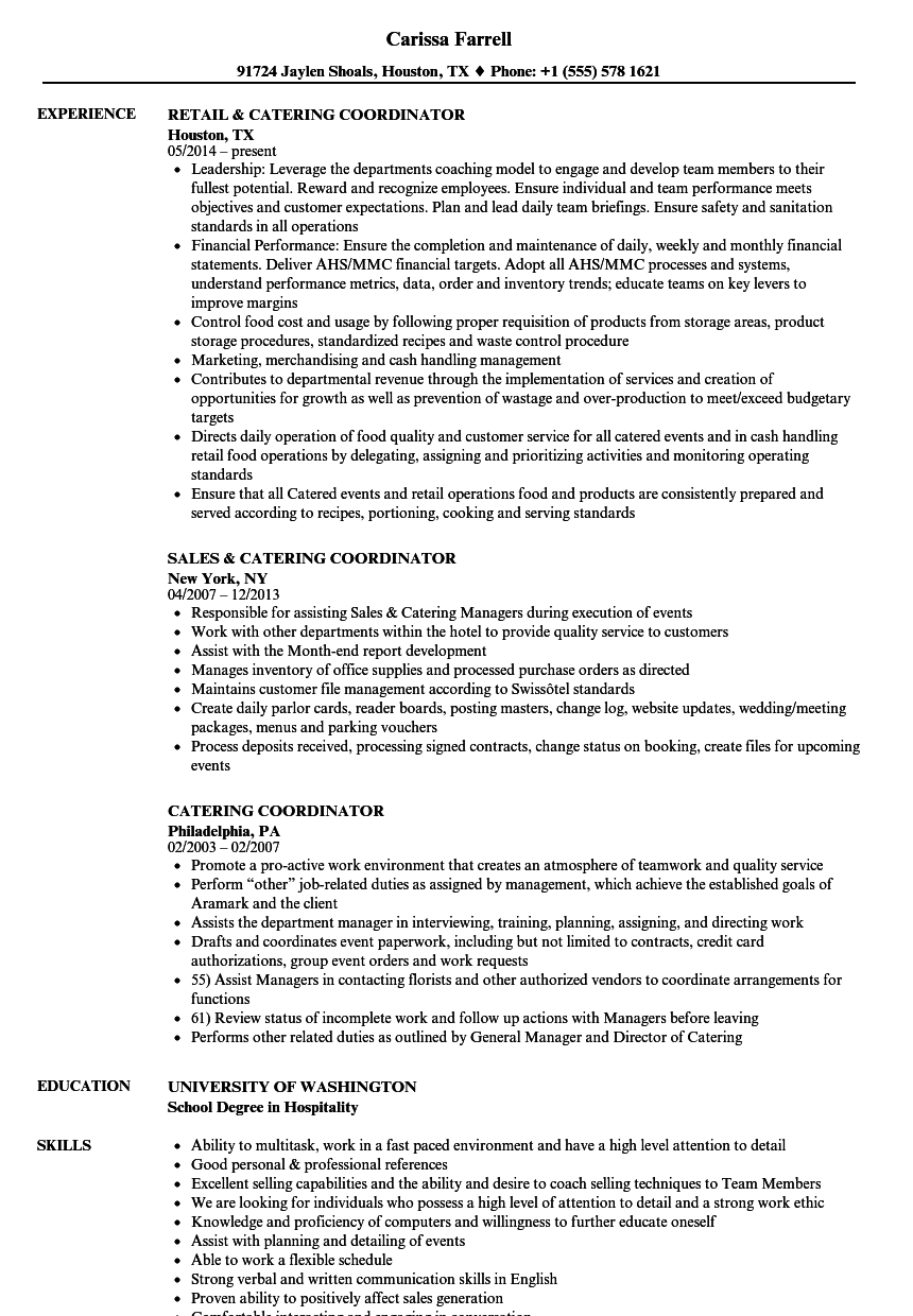 catering coordinator resume samples