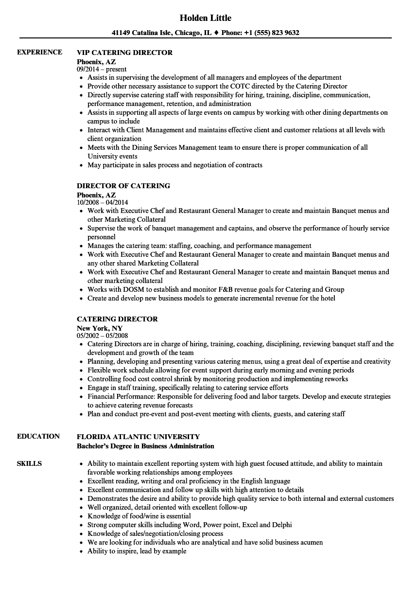 Catering Director Resume Samples Velvet Jobs
