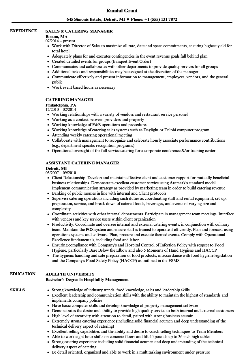 Catering Manager Resume Samples | Velvet Jobs