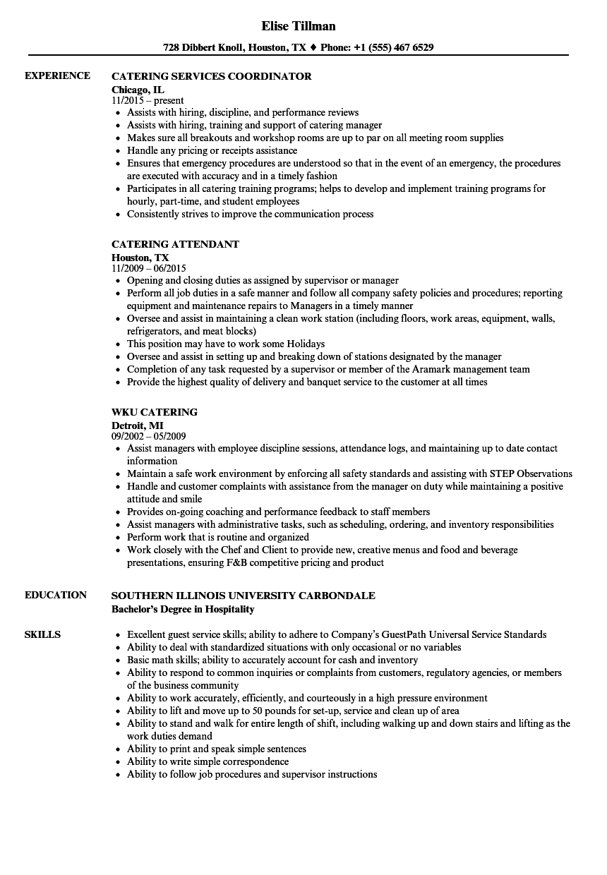Catering Resume Samples Velvet Jobs