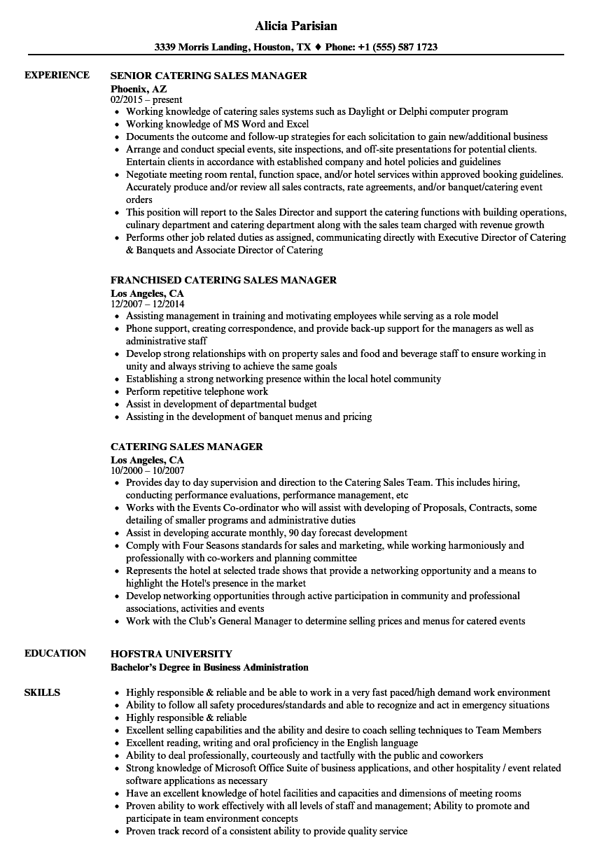 catering sales manager resume samples
