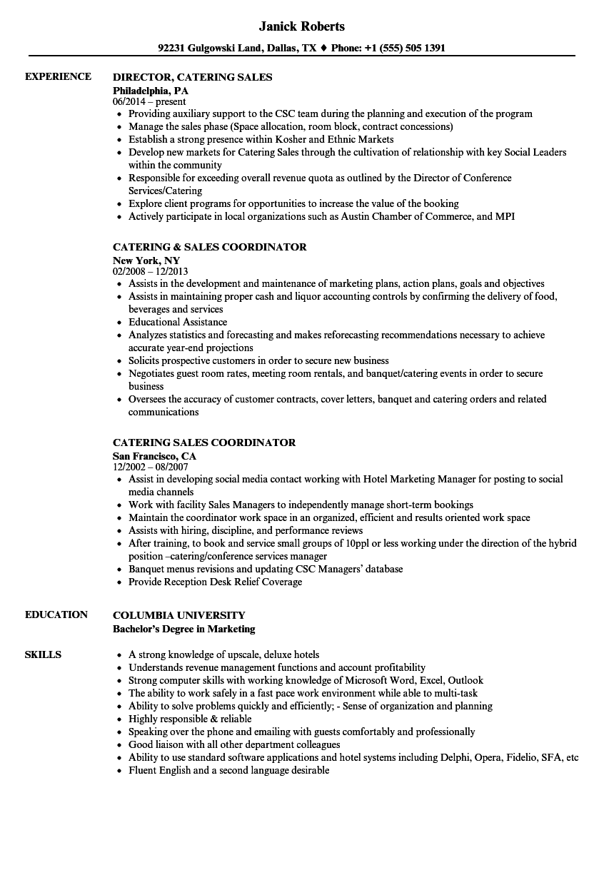 catering sales resume samples