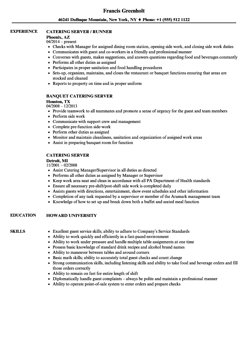 Catering Server Resume Samples | Velvet Jobs