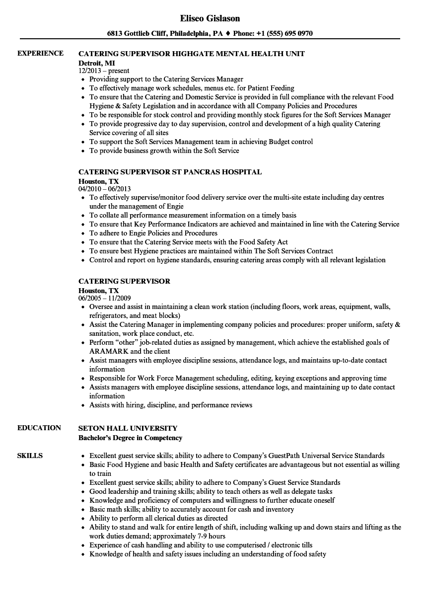 Catering Supervisor Resume Samples | Velvet Jobs