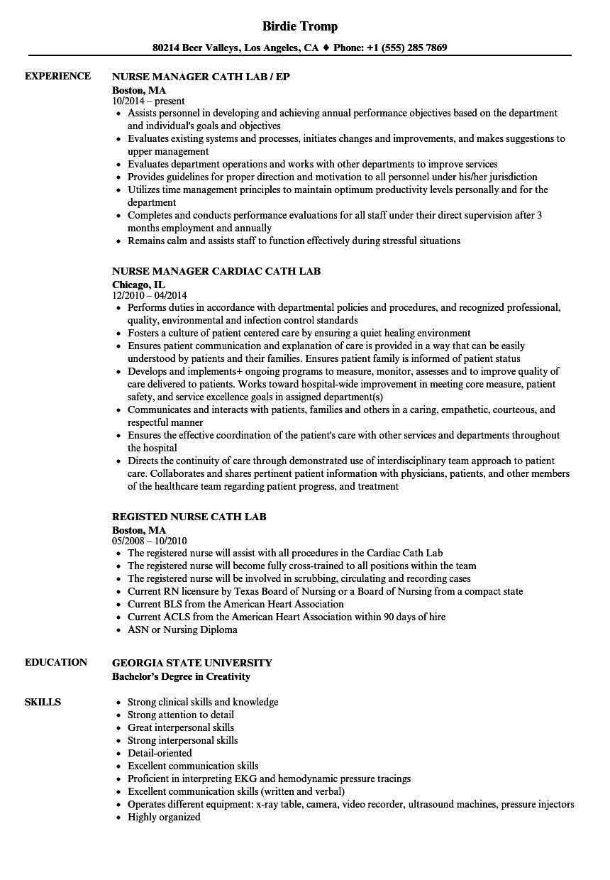 Cath Lab Nurse Resume Samples | Velvet Jobs