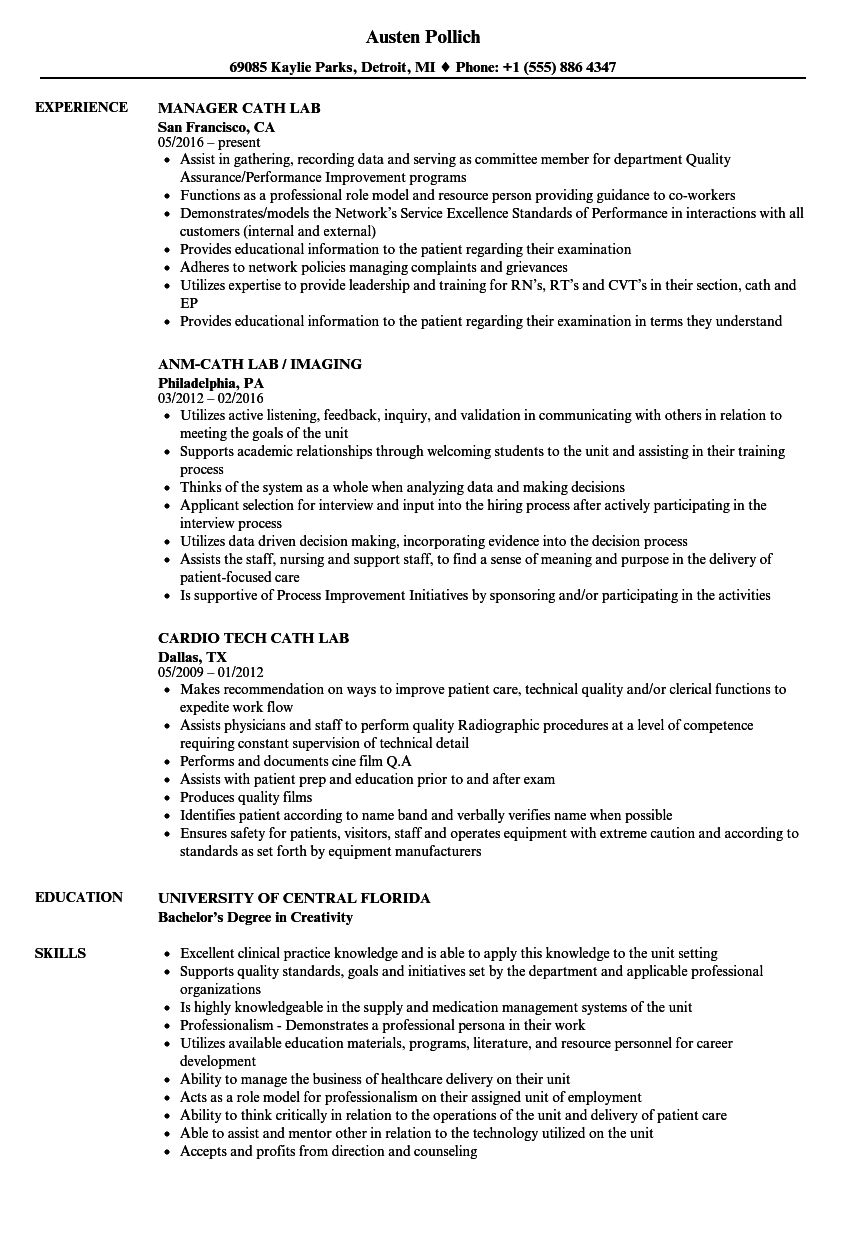 Cath Lab Resume Samples | Velvet Jobs