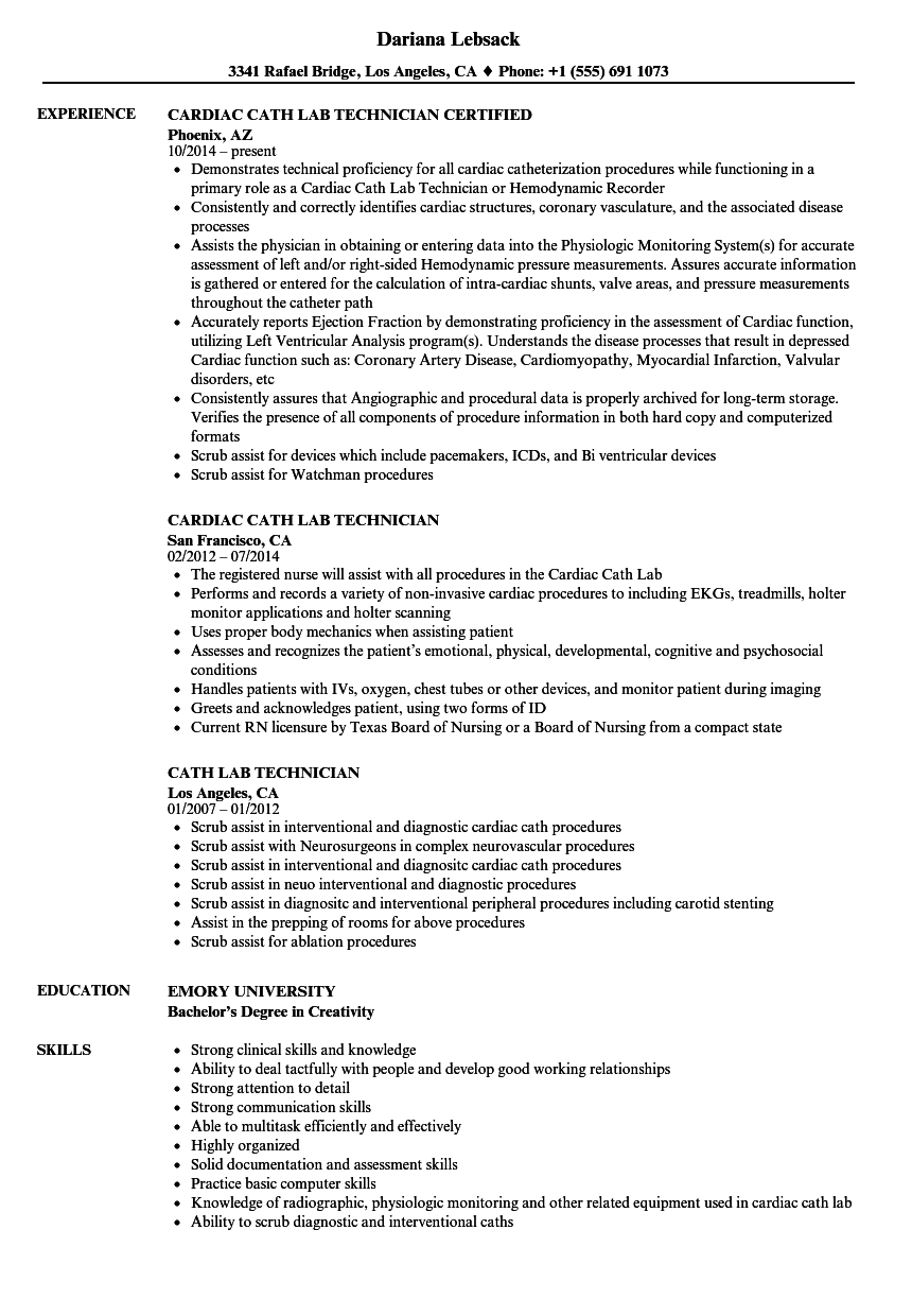 Cath Lab Technician Resume Samples | Velvet Jobs