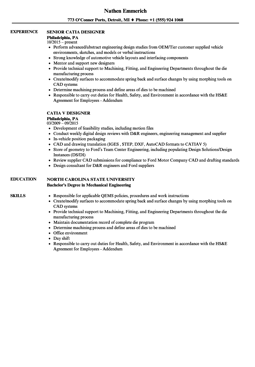 catia designer resume samples