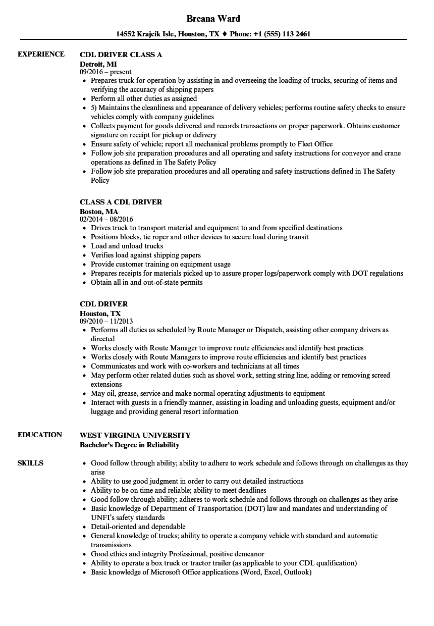 Download CDL Driver Resume Sample As Image File