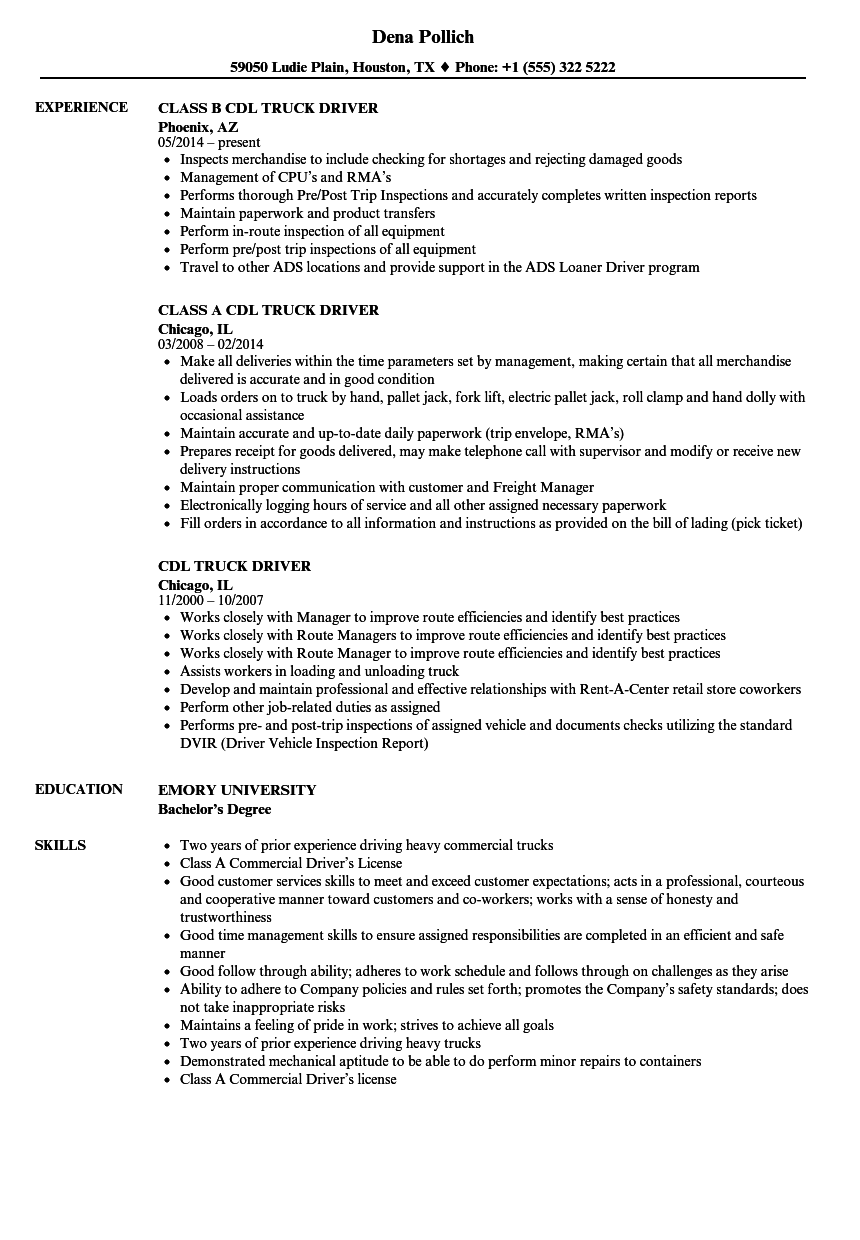 Download CDL Truck Driver Resume Sample As Image File