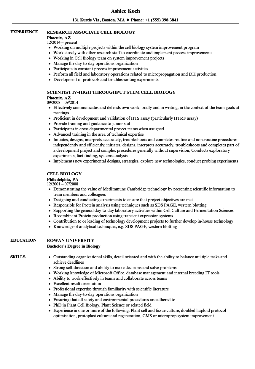 Cell Biology Resume Samples | Velvet Jobs