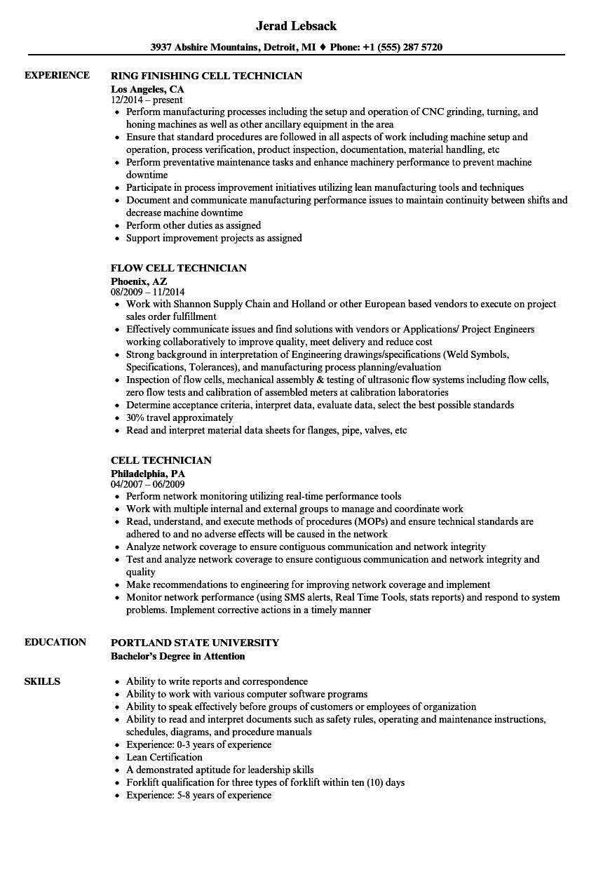cell technician resume samples