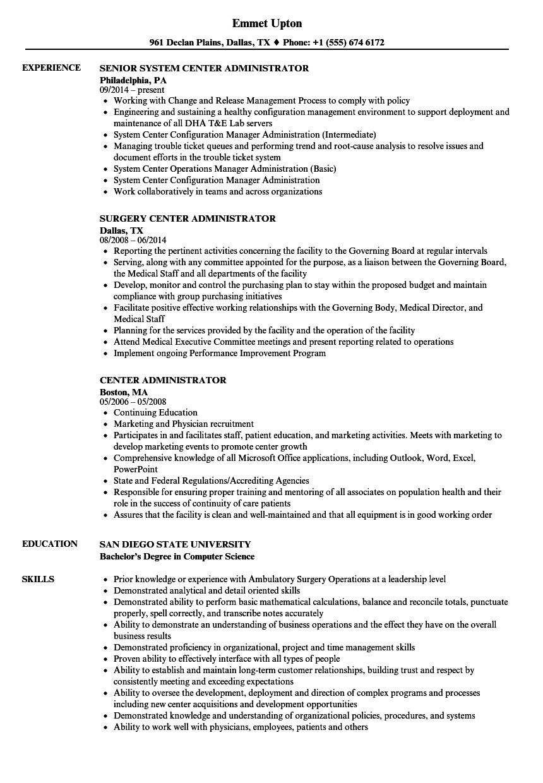 Center Administrator Resume Samples | Velvet Jobs