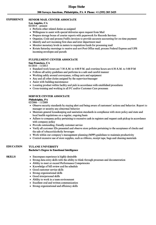 Center Associate Resume Samples   Velvet Jobs