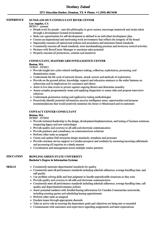 center consultant resume samples