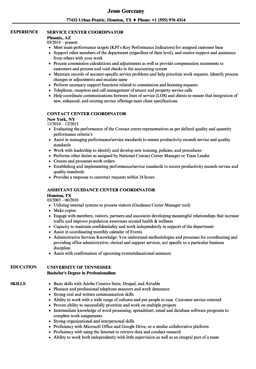Center Coordinator Resume Samples Velvet Jobs