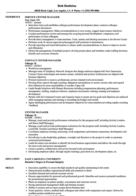 Center Manager Resume Samples | Velvet Jobs
