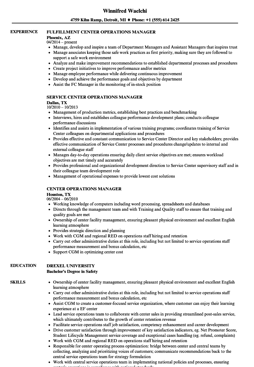 Download Center Operations Manager Resume Sample As Image File