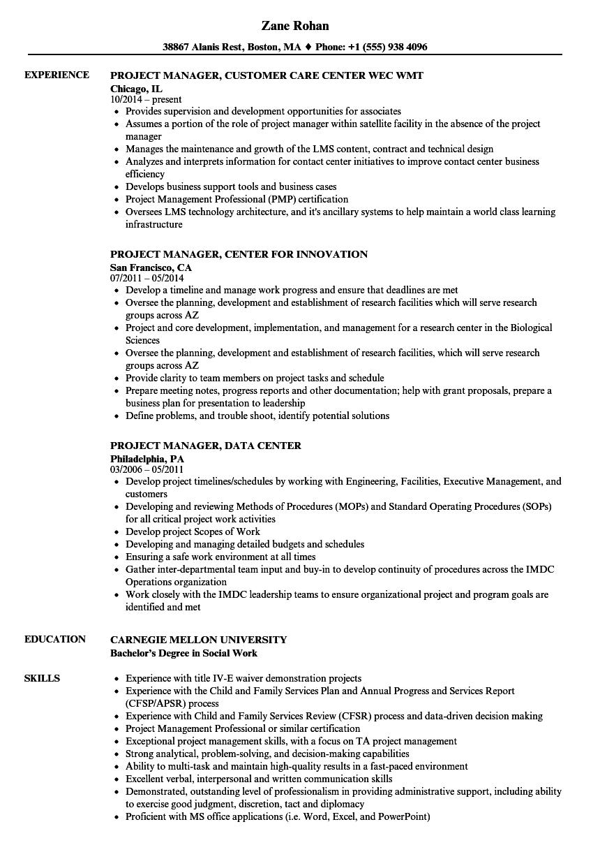Center Project Manager Resume Samples | Velvet Jobs
