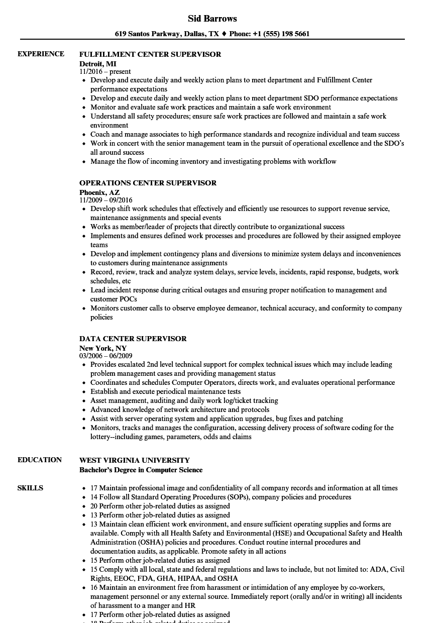 Center Supervisor Resume Samples