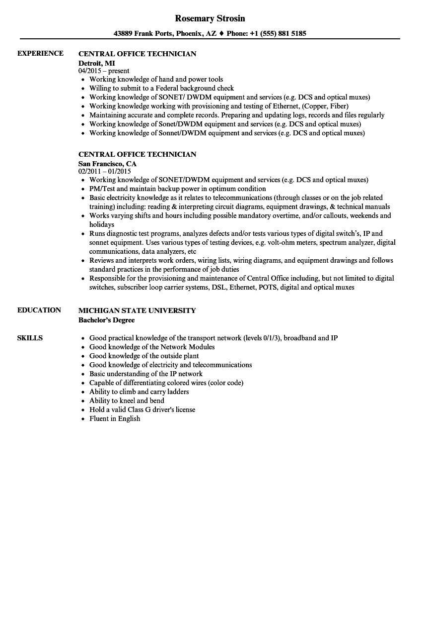 central office technician resume samples