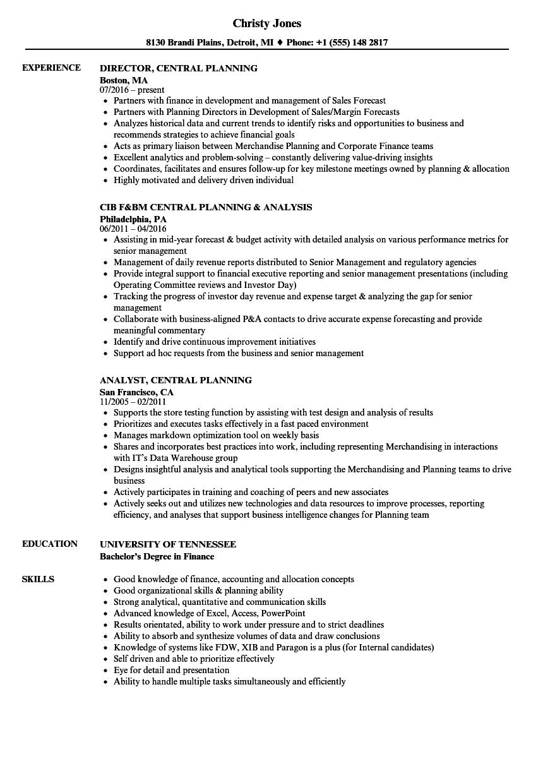 central planning resume samples
